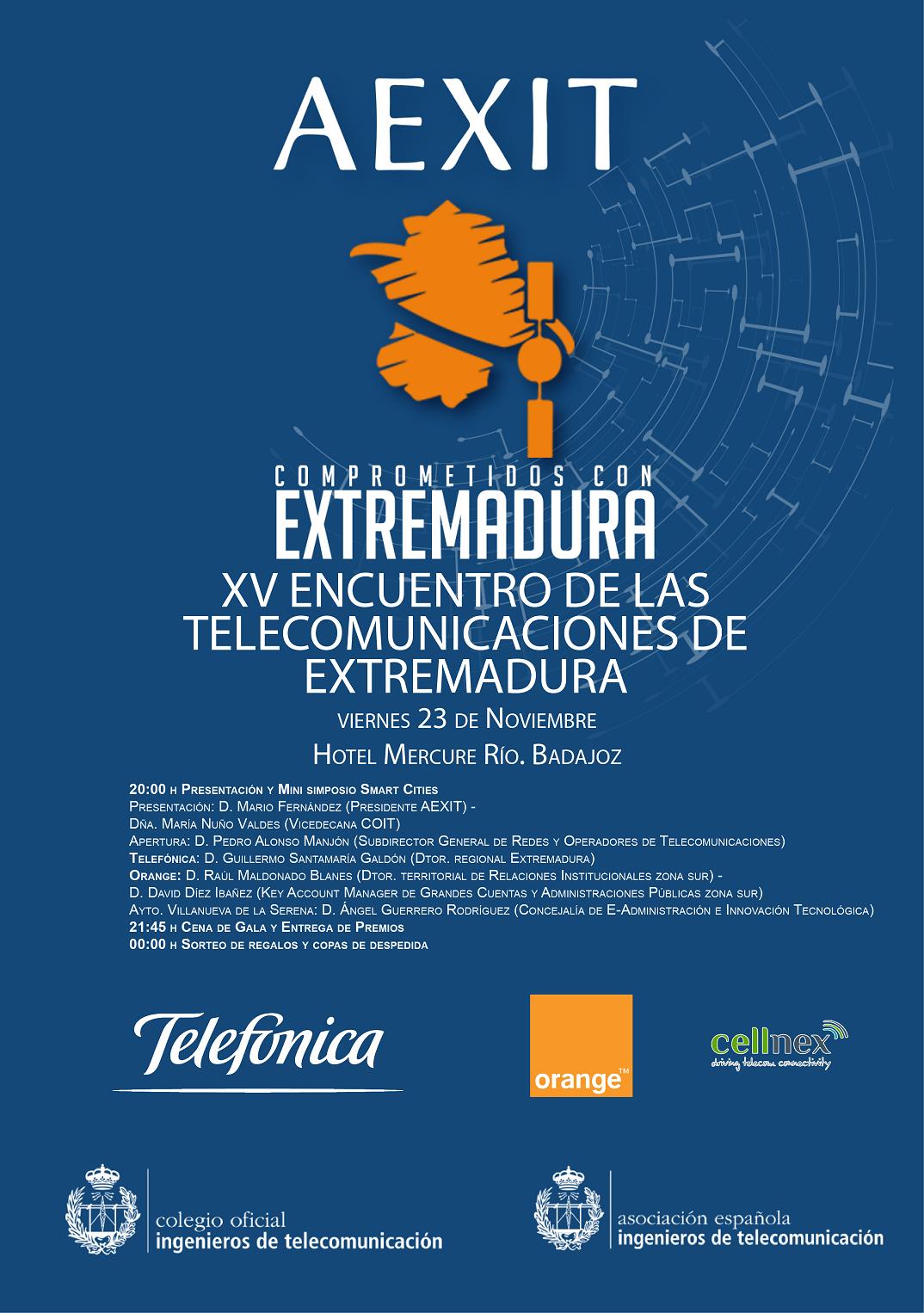 Cartel del XV Encuentro de las Telecomunicaciones de Extremadura.